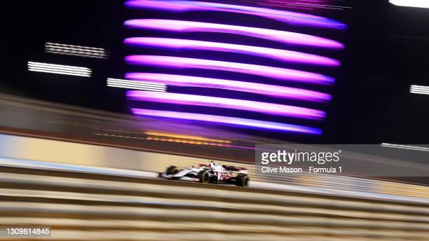 Antonio Giovinazzi of Italy driving the Alfa Romeo Racing C41 Ferrari on track during the F1 Grand Prix of Bahrain at Bahrain International Circuit...