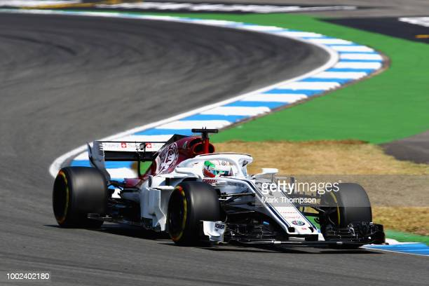 Antonio Giovinazzi of Italy driving the Alfa Romeo Sauber F1 Team C37 Ferrari on track during practice for the Formula One Grand Prix of Germany at...