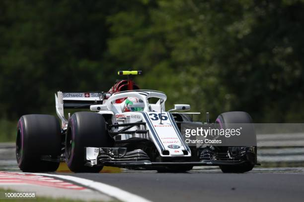 Antonio Giovinazzi of Italy driving the Alfa Romeo Sauber F1 Team C37 Ferrari on track during practice for the Formula One Grand Prix of Hungary at...