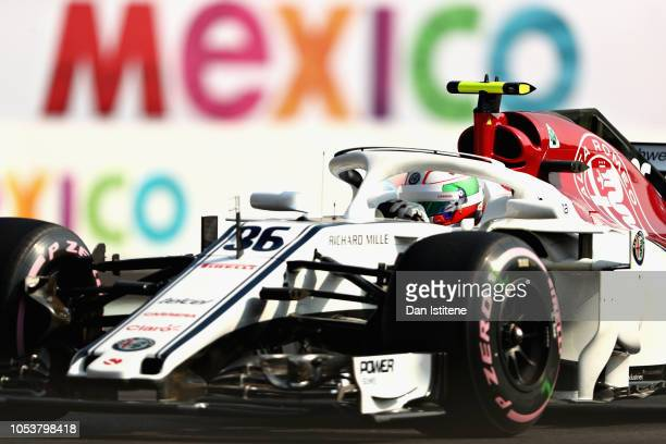Antonio Giovinazzi of Italy driving the Alfa Romeo Sauber F1 Team C37 Ferrari on track during practice for the Formula One Grand Prix of Mexico at...