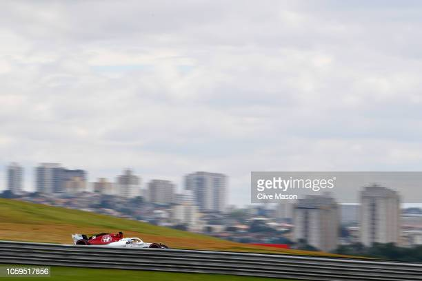 Antonio Giovinazzi of Italy driving the Alfa Romeo Sauber F1 Team C37 Ferrari on track during practice for the Formula One Grand Prix of Brazil at...