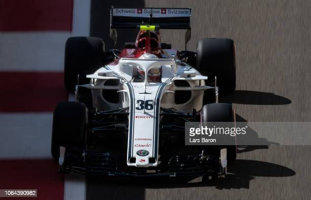 Antonio Giovinazzi of Italy driving the Alfa Romeo Sauber F1 Team C37 Ferrari on track during practice for the Abu Dhabi Formula One Grand Prix at...