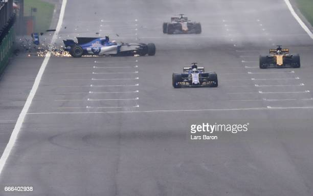 Antonio Giovinazzi of Italy driving the Sauber F1 Team Sauber C36 Ferrari crashes during the Formula One Grand Prix of China at Shanghai...