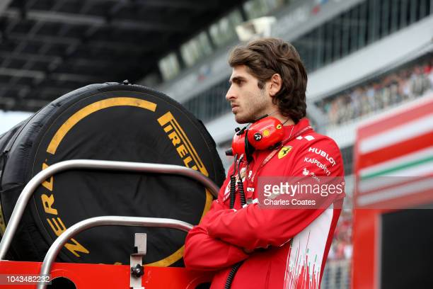 Antonio Giovinazzi of Italy looks on on the grid before the Formula One Grand Prix of Russia at Sochi Autodrom on September 30 2018 in Sochi Russia