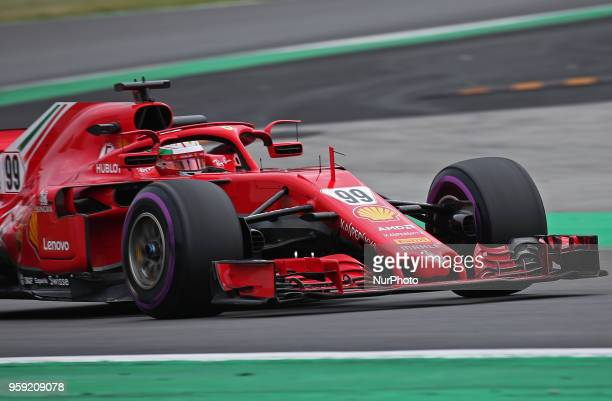 Antonio Giovinazzzi team Ferrari during the Formula 1 testing at the Barcelona Catalunya Circuit on 16th May 2018 in Barcelona Spain Photo Joan...