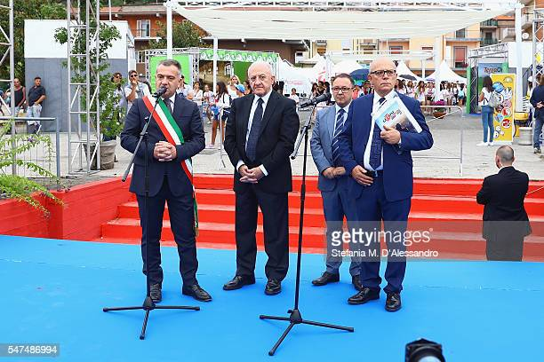 Antonio Giulisno Vincenzo de Luca Pietro Rinaldi and Claudio Gubitosi attend Giffoni Film Festival opening ceremony on July 15 2016 in Salerno Italy