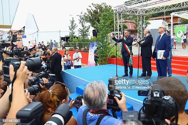 Antonio Giulisno Vincenzo de Luca Pietro Rinaldi and Claudio Gubitosi attend Giffoni Film Festival opening ceremony on July 15 2016 in Salerno Italy