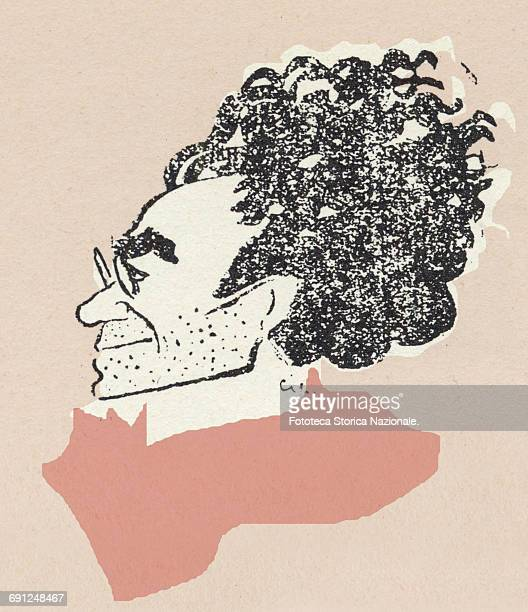 Antonio Gramsci representative to the conference of Leghorn in the communist fraction the group of the New order of Turin Caricature by Pietro Ciuffo...