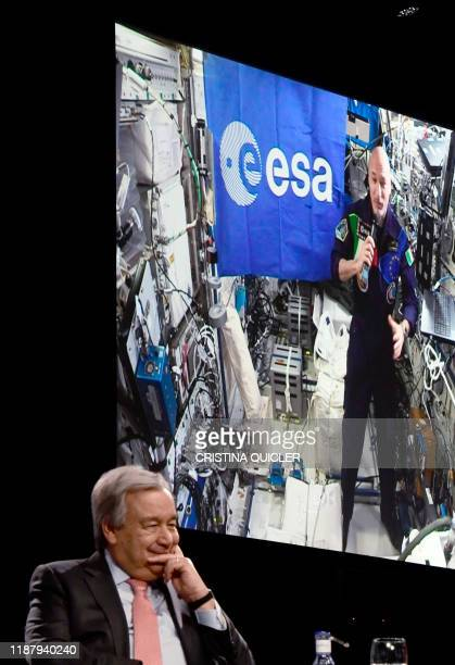 Antonio Guterres SecretaryGeneral of the United Nations takes part in a conversation with the current international space station commander Luca...