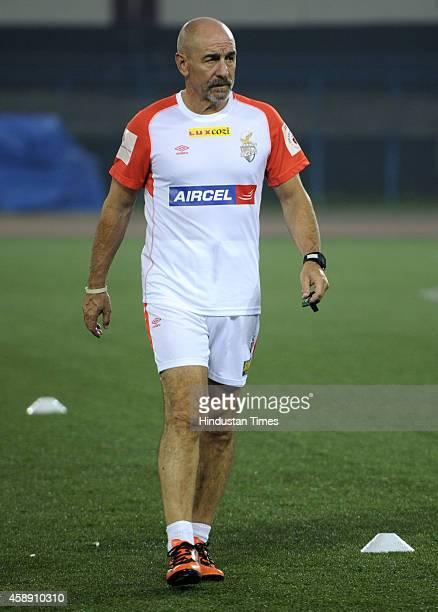 Antonio Habas Head Coach of Atletico de Kolkata during practice ahead of their match against visiting team Chennaiyin FC at Salt Lake Stadium on...