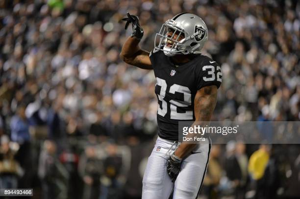 Antonio Hamilton of the Oakland Raiders reacts after a play against the Dallas Cowboys during their NFL game at OaklandAlameda County Coliseum on...
