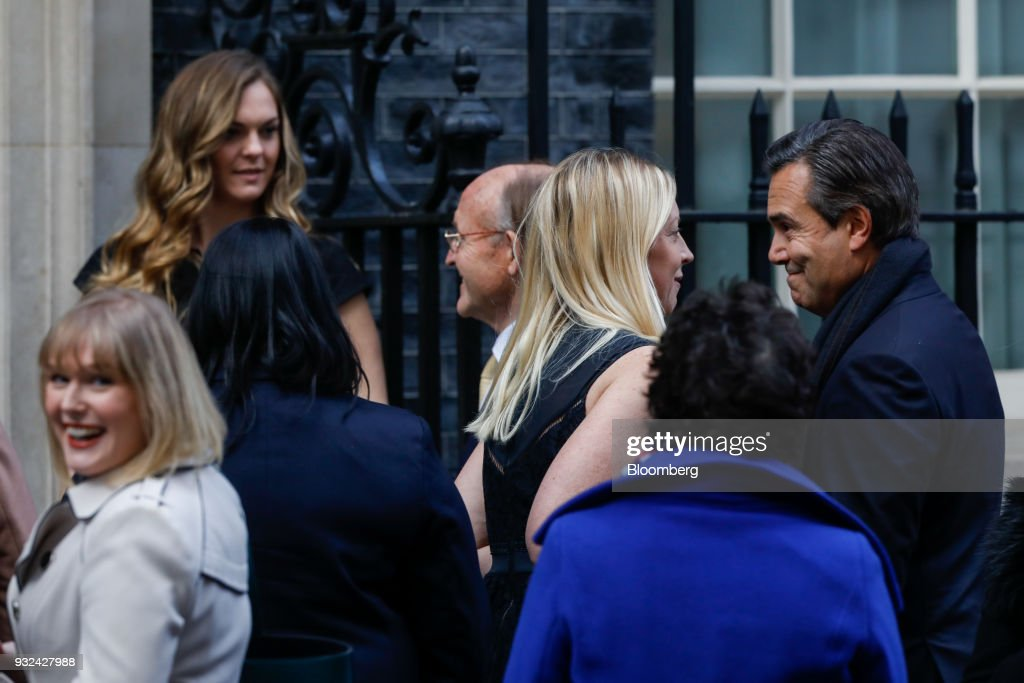 Antonio Horta-Osorio, chief executive officer of Lloyds Banking Group Plc, right, arrives for a meeting of the Business Advisory Council at Downing Street in London, U.K., on Thursday, March 15, 2018. U.K. Prime Minister Theresa May is due to meet business leaders on Thursday to discuss Britain's departure from the European Union. Photographer: Luke MacGregor/Bloomberg via Getty Images