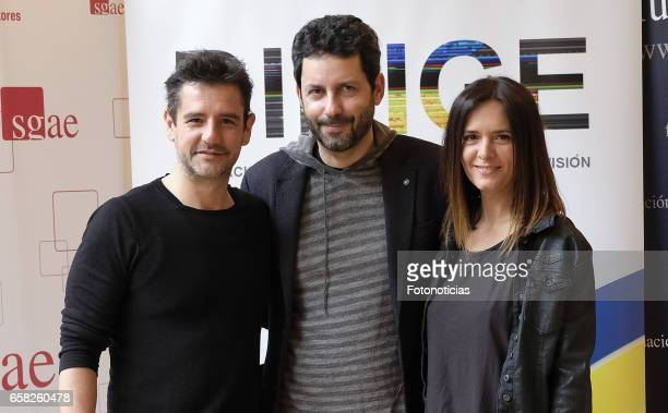 Antonio Hortelano Manuel Rios and Eva Santolaria attend the 'Dirige' photocall at the SGAE on March 27 2017 in Madrid Spain