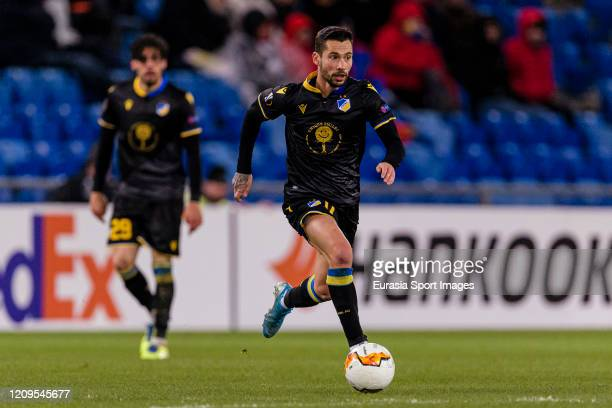 Antonio Jakolis of Apoel runs with the ball during the UEFA Europa League round of 32 second leg match between FC Basel and APOEL Nikosia at St...