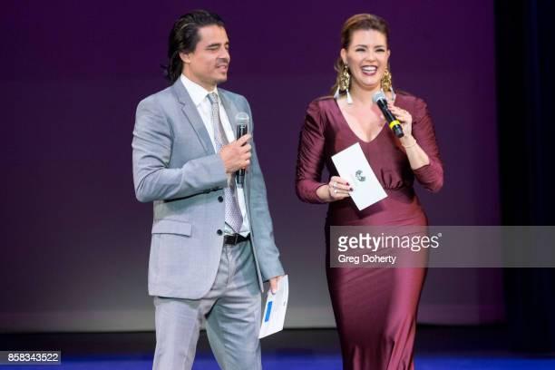 Antonio Jaramillo and Alicia Machado attend the Metropolitan Fashion Week Closing Night Gala at Arcadia Performing Arts Center on October 5 2017 in...