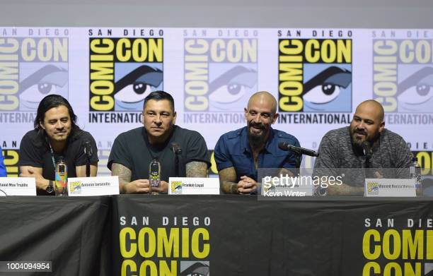 Antonio Jaramillo Frankie Loyal Joseph Lucero and Vincent Vargas speak onstage at the 'Mayans MC' discussion and QA during ComicCon International...
