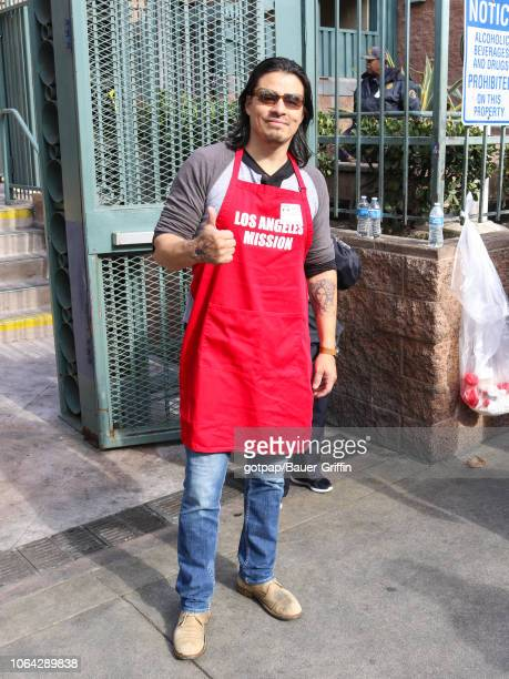 Antonio Jaramillo is seen attending Thanksgiving Meal Service for the homeless at LA Mission on November 21 2018 in Los Angeles California