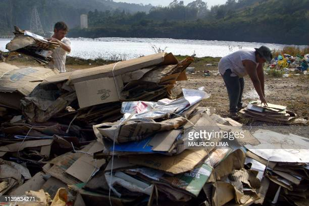 Antonio Joaquim Pedroso and Marcia Teixeira select recyclable cardboard boxes for which they receive 031 Real cents along Tiete river where floating...
