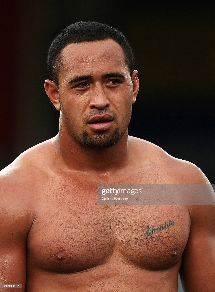 Antonio Kaufusi of the Storm looks on during a Melbourne Storm NRL training session held at MC Labour Park on May 6, 2008 in Melbourne, Australia.