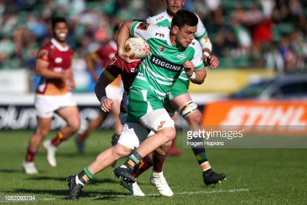 Antonio Kiri Kiri of Manawatu breaks away for a try during the round nine Mitre 10 Cup match between Manawatu and Southland at Central Energy Trust...
