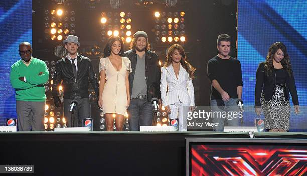 Antonio LA Reid Chris Rene Nicole Scherzinger Josh Krajcik Paula Abdul and Simon Cowell attend 'The X Factor' press conference at CBS Television City...