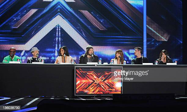Antonio LA Reid Chris Rene Nicole Scherzinger Josh Krajcik Paula Abdul Simon Cowell and Melanie Amaro attend 'The X Factor' press conference at CBS...
