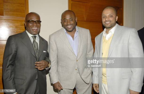Antonio 'LA' Reid Steve Stoute and Jay Brown during 2006 Music Visionary of the Year Award Breakfast at 'Fred's' at Barney's in New York City New...