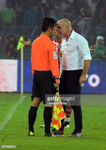 Antonio Lopez Habas coach of Atletico de Kolkata gets into argument with a match official after his team failed to make it to the finals of ISL 2015...