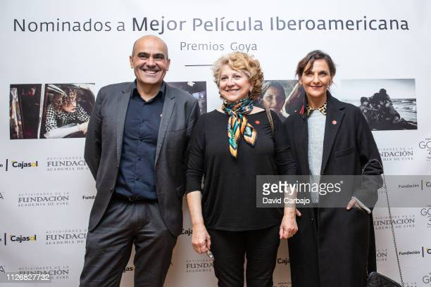 Antonio Lora Esther Garcia and Antonia Zagers attend a press conference of IberoAmerican films nominated for the Goya Awards on February 01 2019 in...