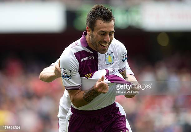Antonio Luna of Aston Villa celebrates his goal for Aston Villa during the Barclays Premier League match between Arsenal and Aston Villa at Emirates...