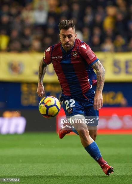 Antonio Luna of Levante Union Deportiva during the La Liga match between Villarreal CF and Levante Union Deportiva at Estadio de la Ceramica on...