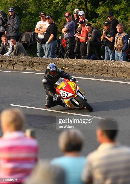 Antonio Maeso rides during practice for the 2007 Isle of Man Tourist Trophy races on May 31 2007 in Ramsey Isle of Man United Kingdom