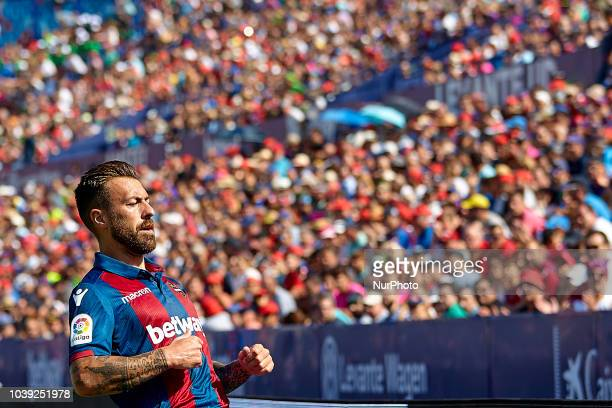 Antonio Manuel Luna Rodriguez of Levante UD reacts during the La Liga match between Levante UD and Sevilla FC at Ciutat de Valencia on September 23...