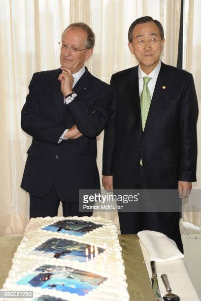 Antonio Maria Costa and Ban Ki-moon attend WELCOME TO GULU EXHIBITION AND BENEFIT ART SALE ANTI-HUMAN TRAFFICKING INNITIATIVE at The United Nations...
