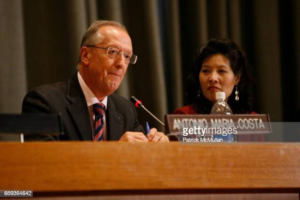 """Antonio Maria Costa and Sheryl Wudunn attend UNDOC Hosts Discussion and Book Signing for """"HALF THE SKY"""" at United Nations on September 15, 2009 in..."""