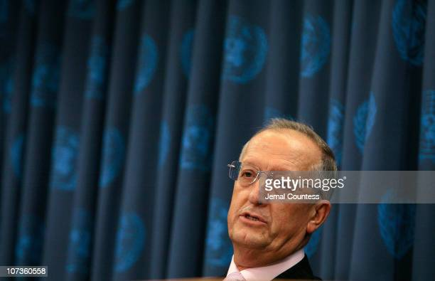 Antonio Maria Costa, Executive Director of the United Nations Office on Drugs and Crime speaks at a press conference on Human Trafficking and his...