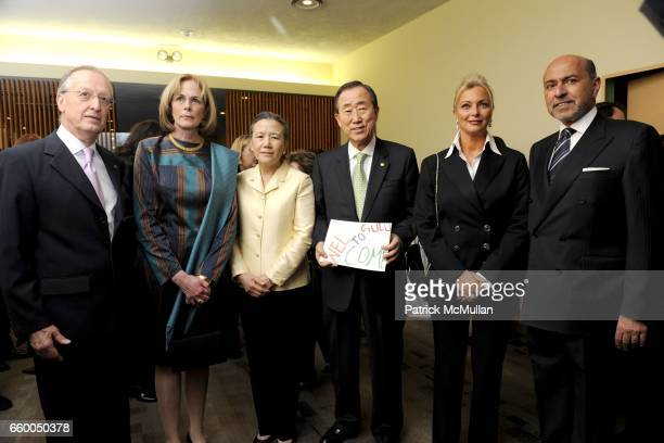 Antonio Maria Costa, guest, Ban Soon-taek, Ban Ki-moon, Gigi Gabr and Shafik Gabr attend WELCOME TO GULU EXHIBITION AND BENEFIT ART SALE ANTI-HUMAN...