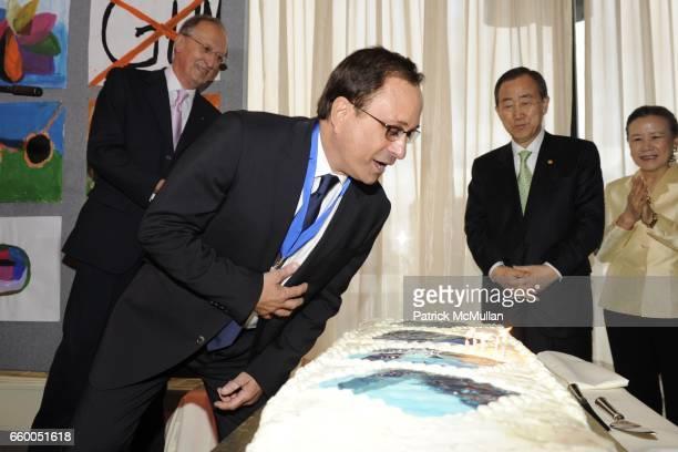 Antonio Maria Costa, Ross Bleckner, Ban Ki-moon and Ban Soon-taek attend WELCOME TO GULU EXHIBITION AND BENEFIT ART SALE ANTI-HUMAN TRAFFICKING...