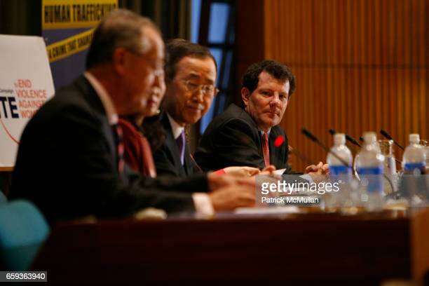 """Antonio Maria Costa, Secretary-General Ban Ki-moon and Nicholas Kristof attend UNDOC Hosts Discussion and Book Signing for """"HALF THE SKY"""" at United..."""