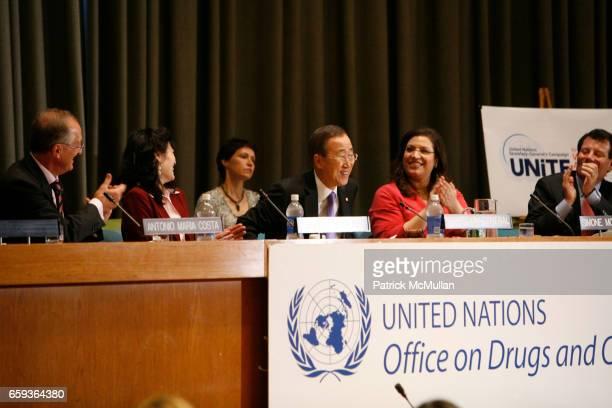 Antonio Maria Costa, Sheryl Wudunn, Secretary-General Ban Ki-moon, Simone Monasebian and Nicholas Kristof attend UNDOC Hosts Discussion and Book...
