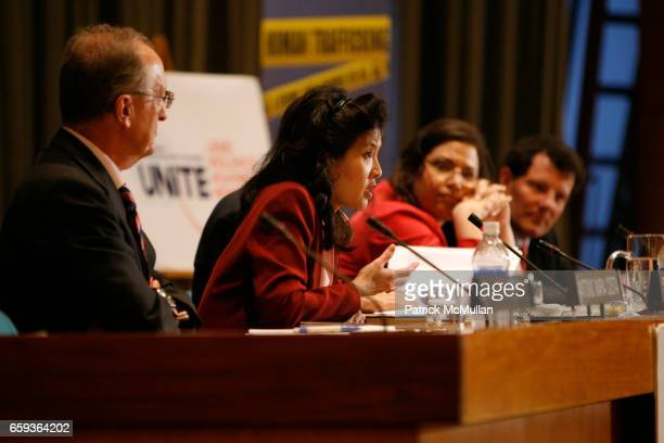 """Antonio Maria Costa, Sheryl Wudunn, Simone Monasebian and Nicholas Kristof attend UNDOC Hosts Discussion and Book Signing for """"HALF THE SKY"""" at..."""