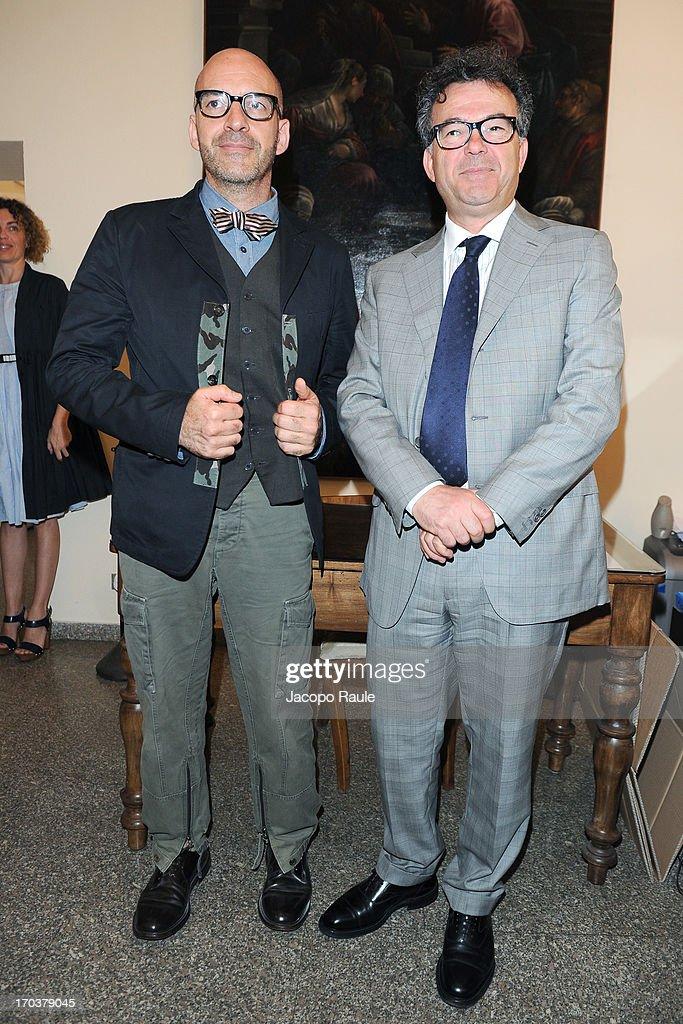 Antonio Marras and Franco Marrocco attend Antonio Marras Receives Honorary Degree From Academy of Fine Arts of Brera on June 12, 2013 in Milan, Italy.