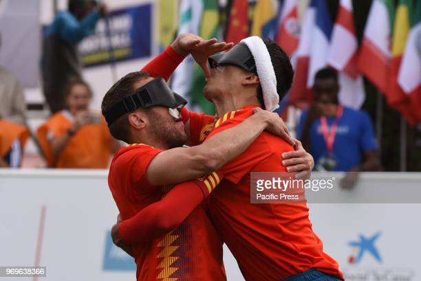 Antonio Martin and Adolfo Acosta celebrate after scoring a goal during Spain victory over Thailandia in the 2018 IBSA Blind Football World...