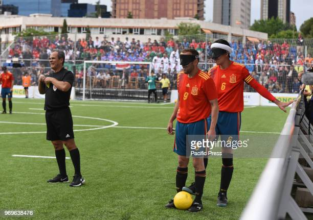 Antonio Martin and Adolfo Acosta during Spain victory over Thailand in the 2018 IBSA Blind Football World Championships celebrated at Sagrados...