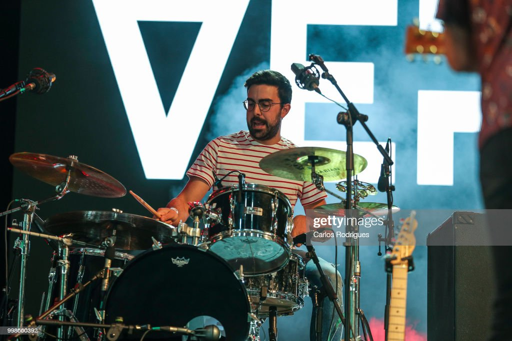 Antonio Martinez Mendieta drummer of the band Vermu performs during Day 1 of NOS Alive Festival 2018 on July 12, 2018 in Lisbon, Portugal.