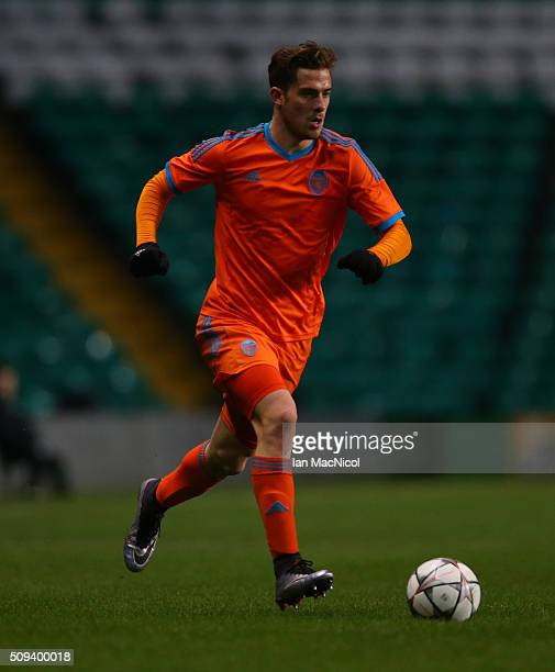 Antonio Martinez of Valencia controls the ball during the UEFA Youth Champions League match between Celtic and Valencia at Celtic Park on February...