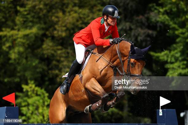 Antonio Matos Almeida of Portugal riding Volver de la Vigne competes during Day 3 of the Longines FEI Jumping European Championship speed competition...