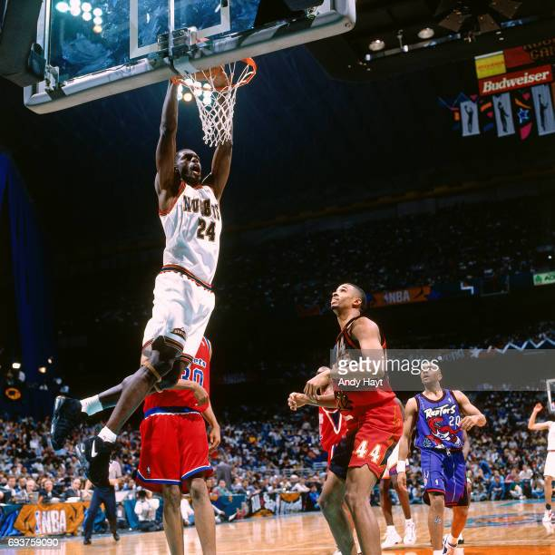Antonio McDyess of the Denver Nuggets dunks the ball during the 1996 Rookie Challenge played on February 10 1996 at the Alamodome in San Antonio...