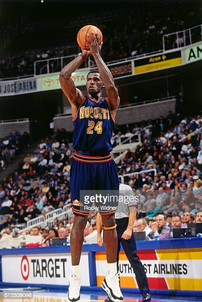 Antonio McDyess of the Denver Nuggets shoots against the Sacramento Kings circa 1997 at the Arena in Oakland in Oakland California NOTE TO USER User...