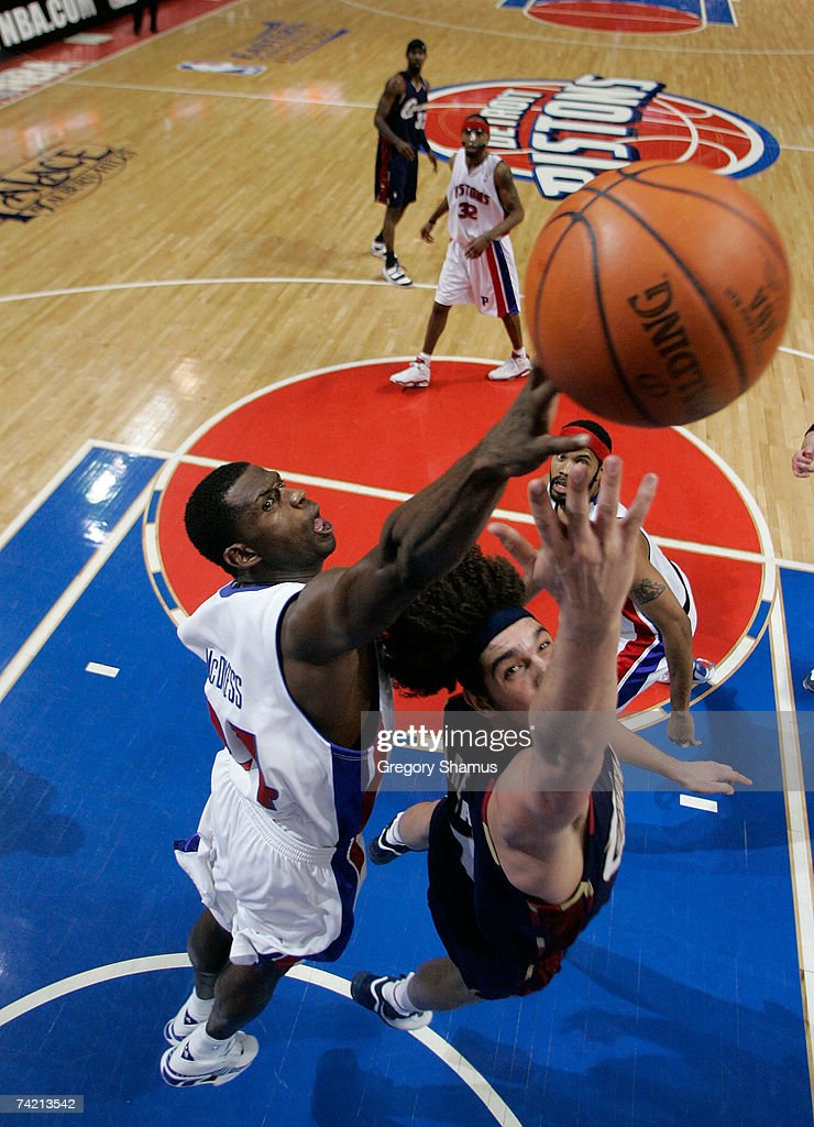 Antonio McDyess #24 of the Detroit Pistons blocks a shot attempt against Anderson Varejao #17 of the Cleveland Cavaliers in Game One of the Eastern Conference Finals during the 2007 NBA Playoffs at The Palace at Auburn Hills on May 21, 2007 in Auburn Hills, Michigan.